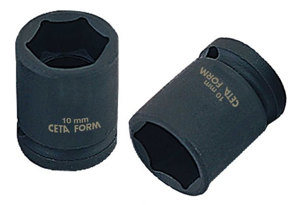 Douille à choc 6-pans – 1/2 – 19 mm / 38 mm – Chrome noir