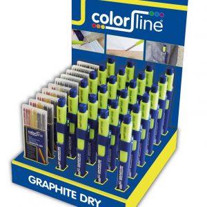 Assortiment de porte-mine et mines de rechange en display: 24 X Crayon GRAPHITE DRY +  + 5×10 GR + 5×10 mix mines graphite