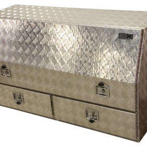 Plaque à damier pour boîte de rangement avec porte et 2 tiroirs