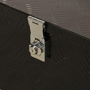 Boîte de rangement plaque à carreaux moyen noir enduit