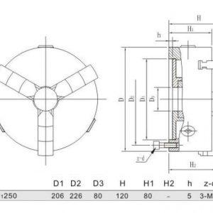 Mandrin auto-centrant 3 mors 250 mm