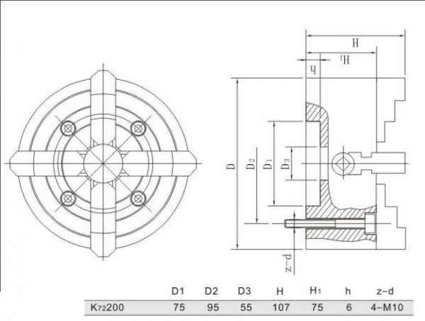 Mandrin indépendant à 4 mors 200 mm