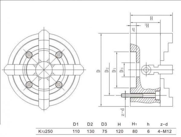 Mandrin indépendant à 4 mors 250 mm