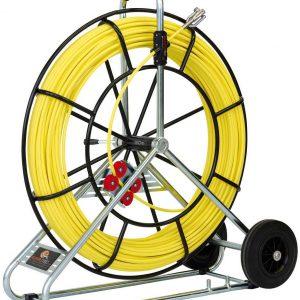 Baguette en fibre de verre Ø 7,5 mm avec enrouleur en acier et roue de transport – 80 m