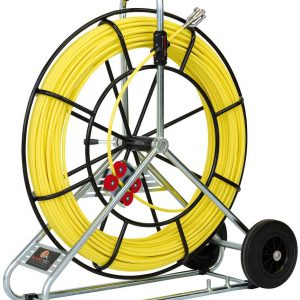 Baguette en fibre de verre Ø 7,5 mm avec enrouleur en acier et roue de transport – 100 m