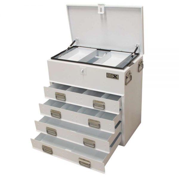Boîte de rangement pour camion en acier avec rabat et 4 tiroirs