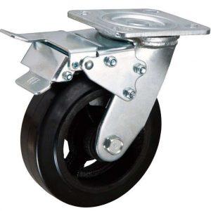Roulette pivotante avec double frein 200x50mm caoutchouc