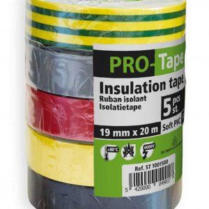 Ruban isolant 19 mm x 20 m x 0,15 mm, VDE / 5 couleurs